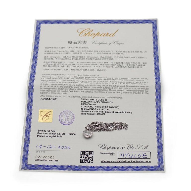 Chopard Happy Diamonds White Gold Heart Pendant Necklace For Sale 1
