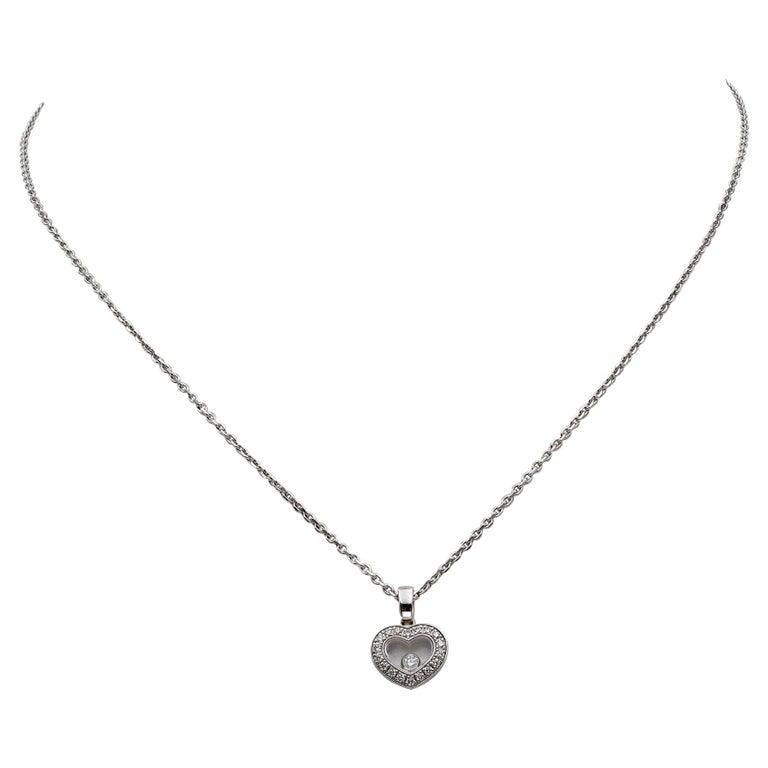 Chopard Happy Diamonds White Gold Heart Pendant Necklace For Sale