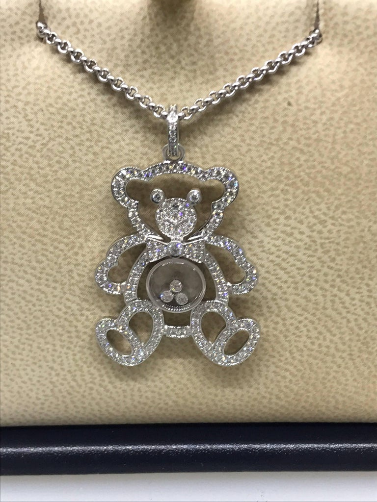 Chopard Happy Diamonds Teddy Bear pendant / necklace  Model Number: 79/7418-1003  100% Authentic  Brand New  Comes with original Chopard box, certificate of authenticity and warranty and jewels manual  18 Karat White Gold (24.25gr)  169 Diamonds on