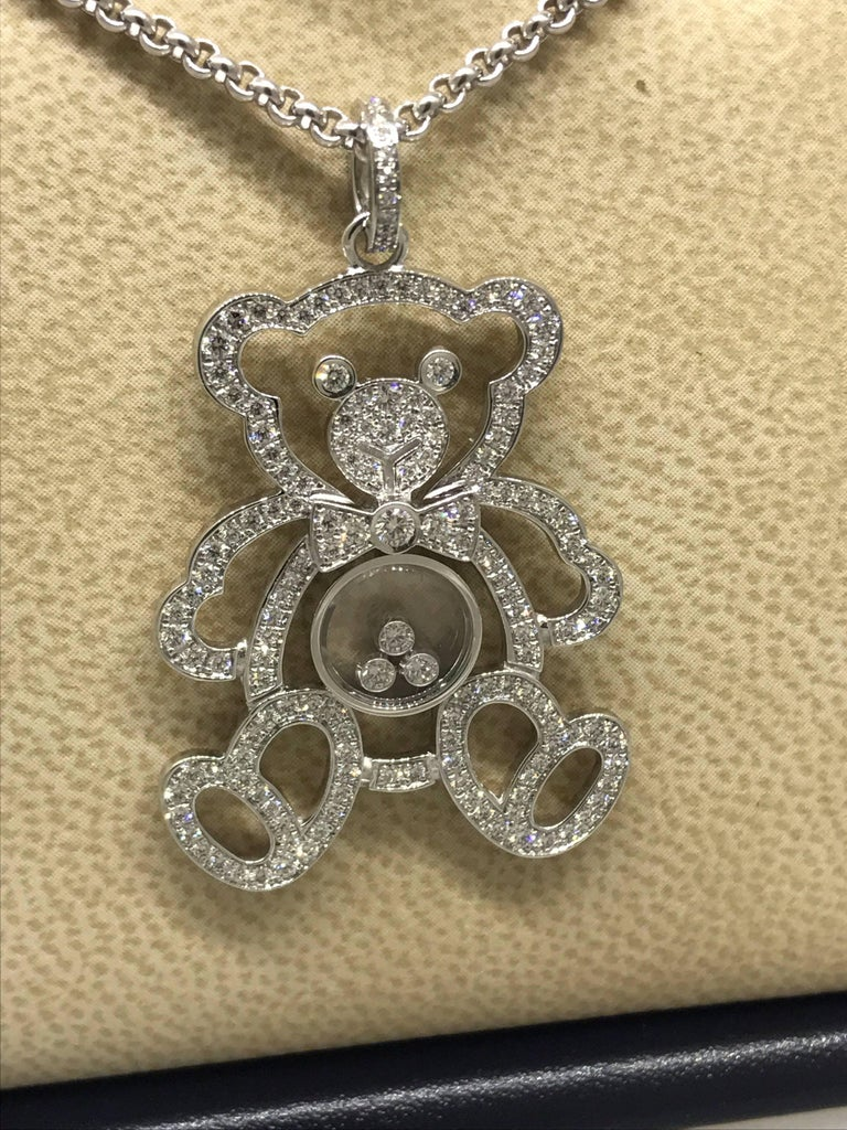 Chopard Happy Diamonds White Gold Teddy Bear Pendant / Necklace In As New Condition For Sale In New York, NY