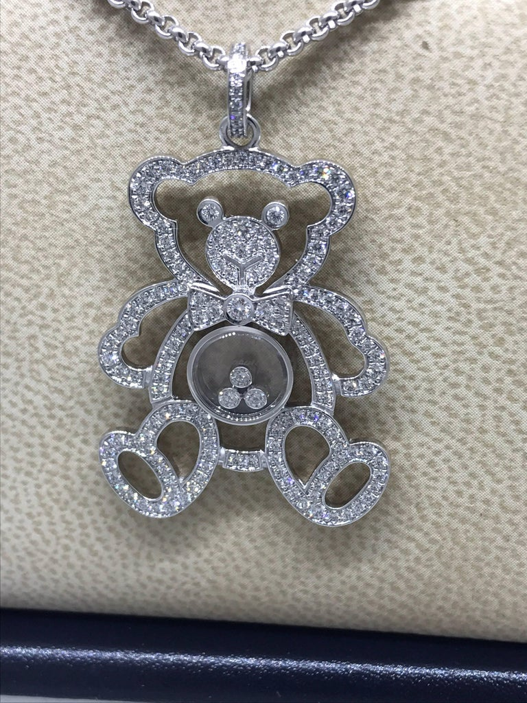 Women's Chopard Happy Diamonds White Gold Teddy Bear Pendant / Necklace For Sale