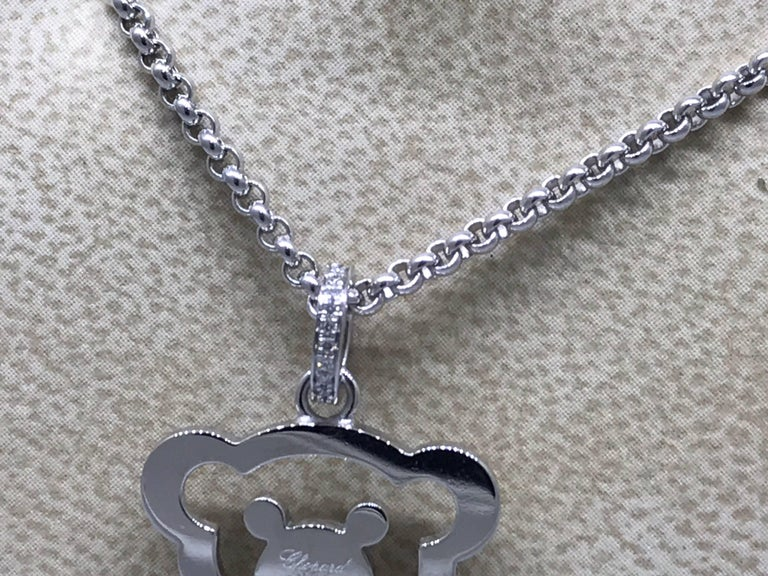 Chopard Happy Diamonds White Gold Teddy Bear Pendant / Necklace For Sale 1