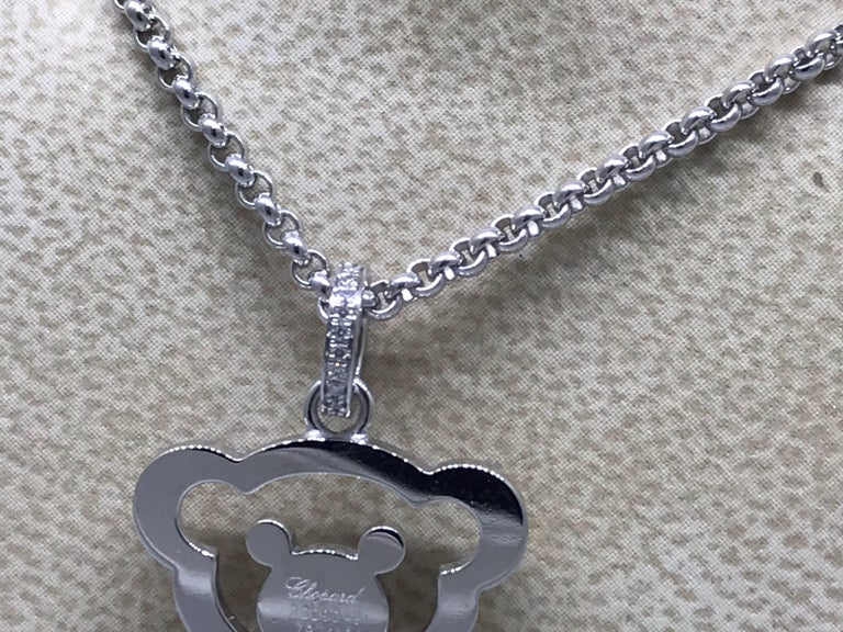 Chopard Happy Diamonds White Gold Teddy Bear Pendant / Necklace For Sale 2
