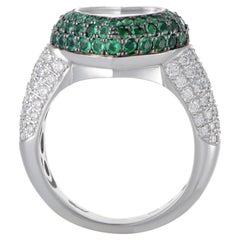 Chopard Happy Diamonds Women's 18 Karat Gold Diamond and Emerald Pave Heart Ring