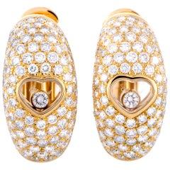 Chopard Happy Diamonds Yellow Gold Floating Diamond Heart Earrings