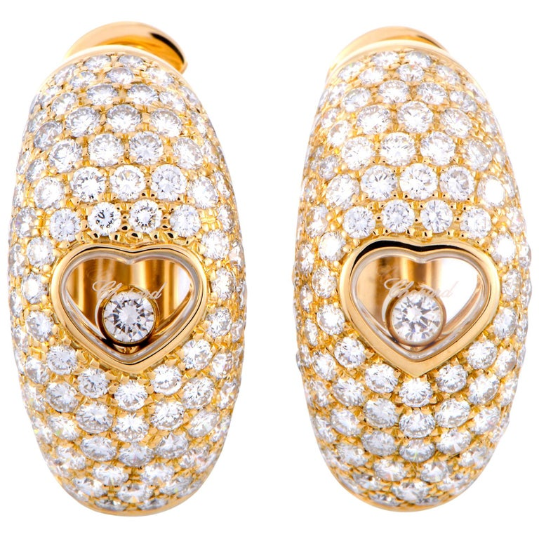 Chopard Happy Diamonds Yellow Gold Floating Diamond Heart Earrings For Sale
