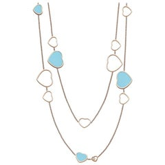 Chopard Happy Heart Turquoise and Diamond Ladies Necklace 817482-5401