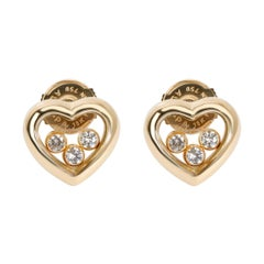 Chopard Happy Hearts Diamond Earring in 18 Karat Yellow Gold 0.18 Carat