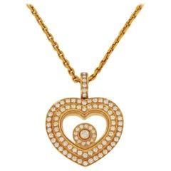 Chopard Happy Hearts Diamond Rose Gold Pendant Necklace 18 Karat Box