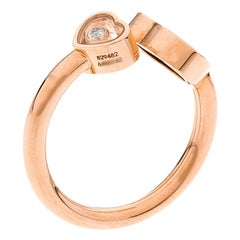 Chopard Happy Hearts Onyx Diamond 18k Rose Gold Ring Size 55