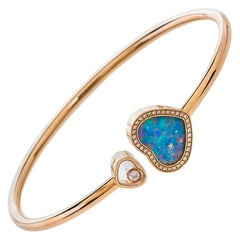 Chopard Happy Hearts Opal & Diamond 18K Rose Gold Open Bracelet S