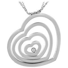 Chopard Happy Spirit 18 Karat White Gold Diamond Heart Pendant Necklace