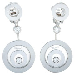 Chopard Happy Spirit 18 Karat Gold and Diamond Round Drop Omega Back Earrings