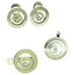 Chopard Happy Spirit White Gold Diamond Ring, Pendant, Earring Set 3 Piece Set