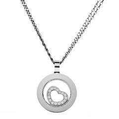 Chopard Happy Spirit Women's White Gold Floating Diamond Heart Pendant Necklace