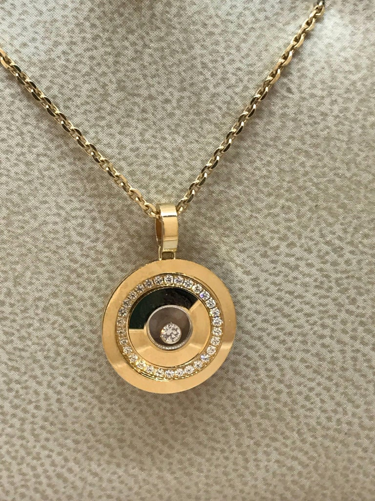 Chopard happy spirit yellow gold and diamond round circle pendant chopard happy spirit round circle pendant necklace model number 797990 0003 mozeypictures Gallery