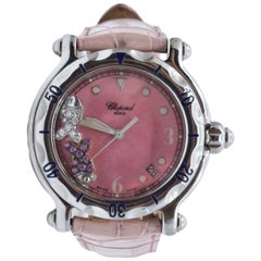 Chopard Happy Sport Diamond Fish Mother of Pearl Leather Strap Watch