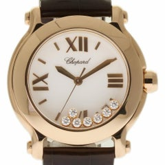 Chopard Happy Sport II 27/7471-5013 Rose Gold Leather 2 Year Warranty #131-3