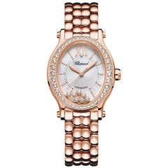 Chopard Happy Sport Oval Rose Gold and Diamond Ladies Watch 275362-5005