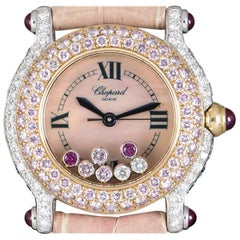 Chopard Happy Sport Pink and White Diamond Set Pink Mother of Pearl Dial Watch