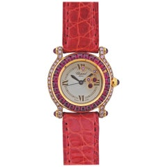 Chopard Happy Sport Pink Diamond Ruby Gold Watch