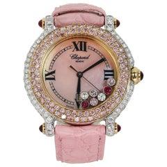 Chopard Happy Sport Pink Diamond White & Rose Gold Watch