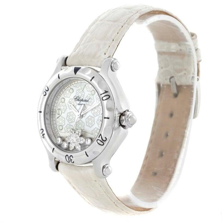 30835f423a9b3 Chopard Happy Sport Snowflake Floating Diamond Watch 278949-3001 For Sale 8