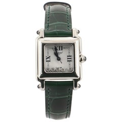 Chopard Happy Sport Square Quartz Watch Stainless Steel with Diamonds and Alliga