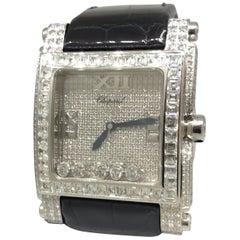 Chopard Happy Sport Square White Gold Pave Diamond Watch 28/3577 Brand New