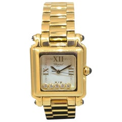 Chopard Happy Sport Square Yellow Gold White Dial Bracelet Ladies Watch 27/6581