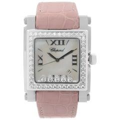 Chopard Happy Sport Steel MOP Dial Leather Strap Ladies Quartz Watch 288448-2001