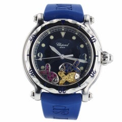 Chopard Happy Sports Fish Steel Watch 8347 Pave Sapphires and Ruby Fish