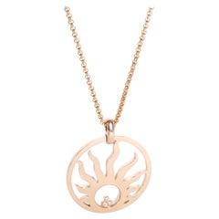 Chopard Happy Sun Diamond Necklace in 18 Karat Rose Gold 0.10 Carat