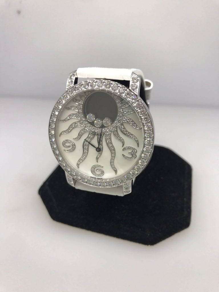 Chopard Happy Sun White Gold and Diamond Leather Band Ladies Watch 20/7470  New In