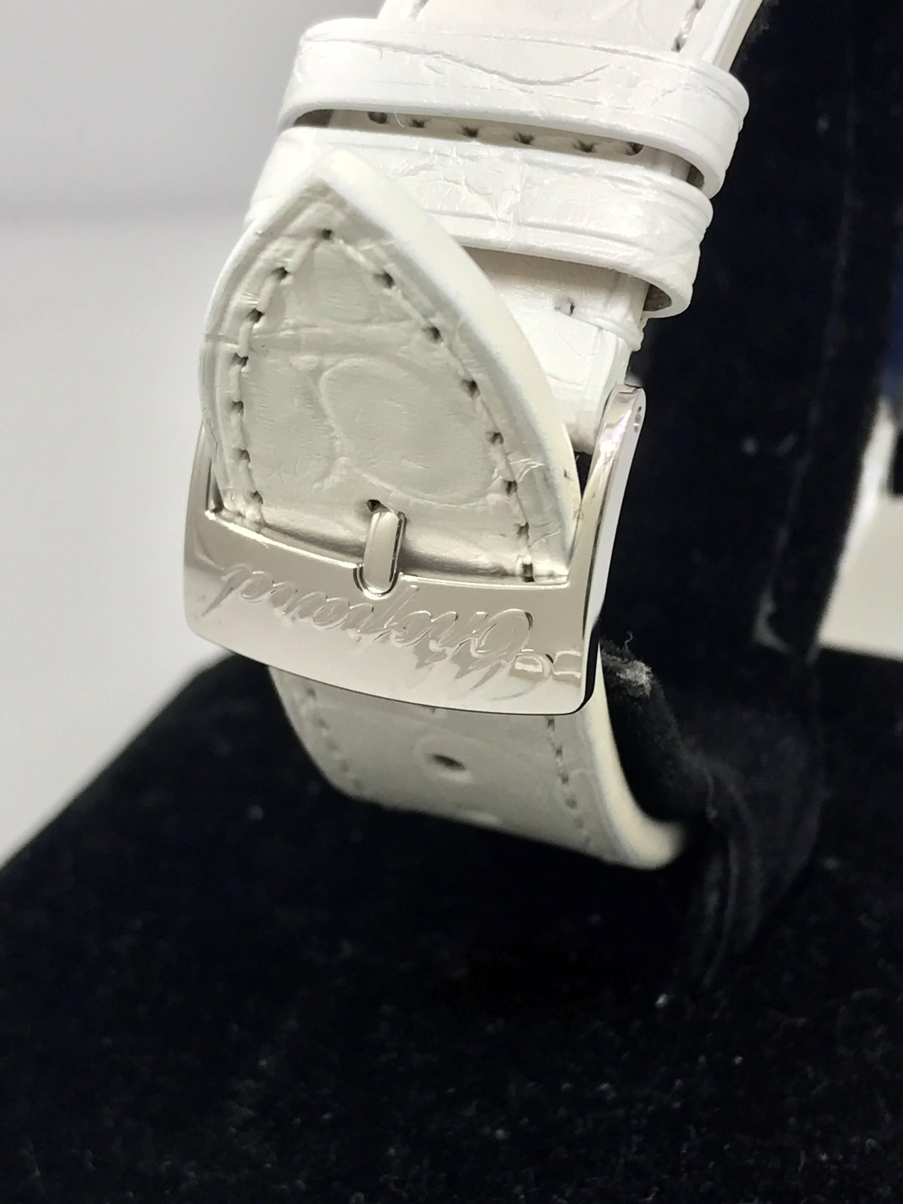 Chopard Happy Sun White Gold and Diamond Leather Band Ladies Watch 20/7470  New For Sale at 1stdibs
