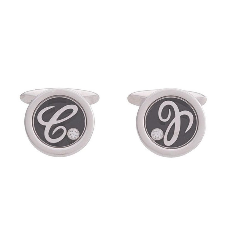 Chopard 'Happy' White Gold and Diamond Cufflinks For Sale