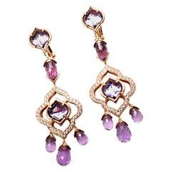 Chopard High Jewelry Imperiale Diamond Amethyst Rose Gold Drop Earrings