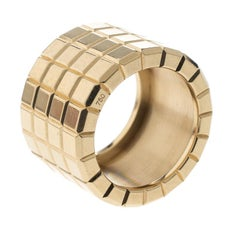 Chopard Ice Cube 18k Yellow Gold Textured 4 Row Band Ring Size 51