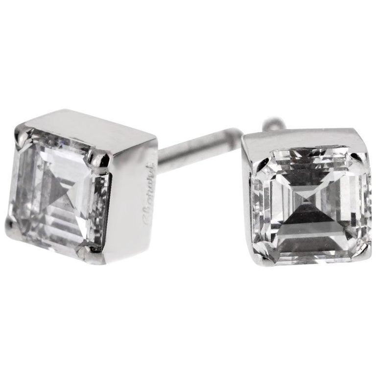 Chopard Ice Cube .96 Carat Square Cut Diamond Stud Earrings For Sale
