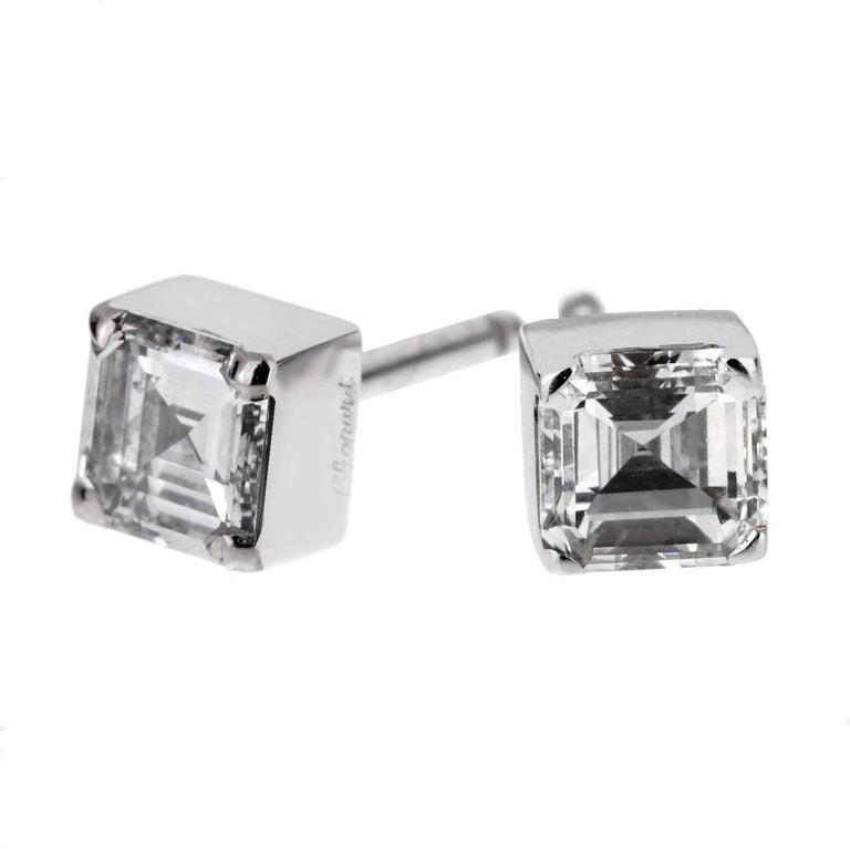 Chopard Ice Cube .96 Carat Square Cut Diamond Stud Earrings In Excellent Condition For Sale In Feasterville, PA
