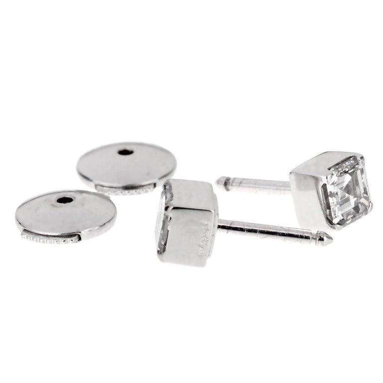 Women's or Men's Chopard Ice Cube .96 Carat Square Cut Diamond Stud Earrings For Sale