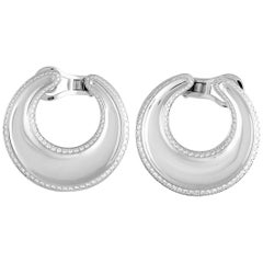 Chopard Imperiale 18 Karat White Gold Diamond Hoop Omega Earrings