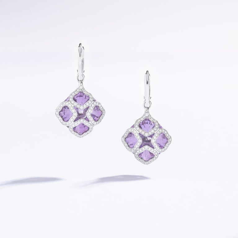 Round Cut Chopard Imperiale Amethyst Diamond white Gold  Earrings For Sale