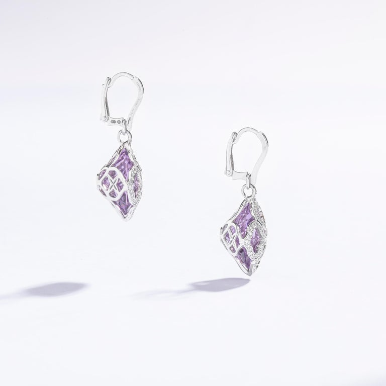 Chopard Imperiale Amethyst Diamond white Gold  Earrings In Excellent Condition For Sale In Geneva, CH