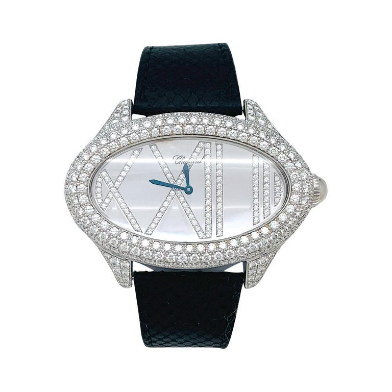 Chopard Jewelry Watch, White Gold Set with Diamonds For Sale 1