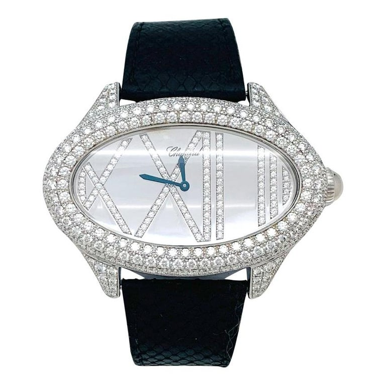 Chopard Jewelry Watch, White Gold Set with Diamonds For Sale