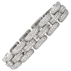 Chopard La Strada 12 Carat Pave-Set Diamond 18 Karat White Gold Link Bracelet