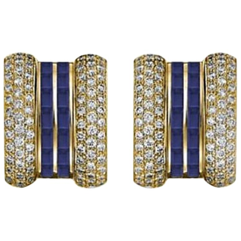 Chopard La Strada Yellow Gold Earrings with Sapphires