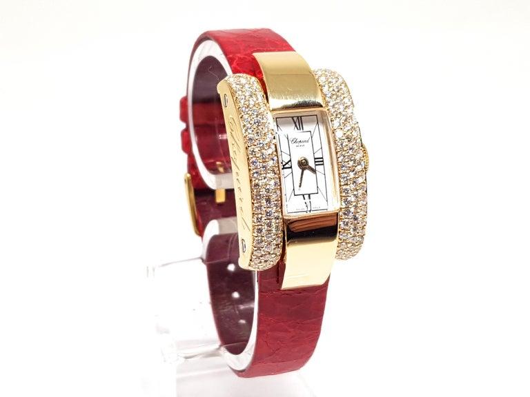 Contemporary Chopard La Strada Yellow Gold White Diamonds Watch