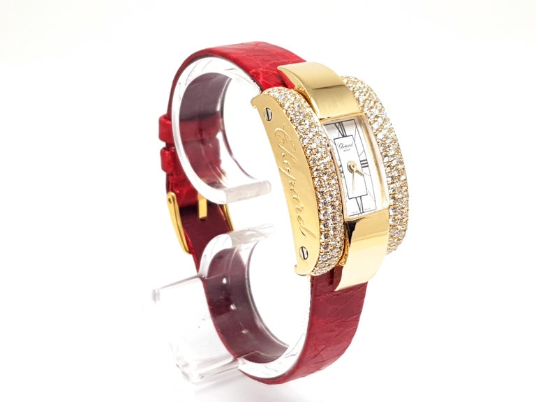 Round Cut Chopard La Strada Yellow Gold White Diamonds Watch